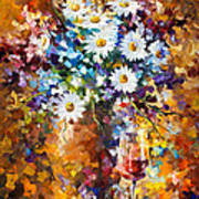 White Flowers - Palette Knife Oil Painting On Canvas By Leonid Afremov Art Print