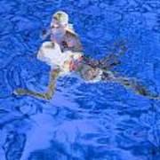 White Hair Blue Water 4 Art Print