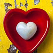 White Heart Red Heart Art Print by Garry Gay