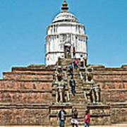 White Hindu Temple In Bhaktapur Durbar Square In Bhaktapur-nepal  Art Print