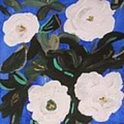 White Magnolias On Deep Blue Art Print