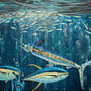 White Marlin Original Oil Painting 24x36in On Canvas Art Print by Manuel Lopez