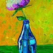 White Peony Into A Blue Bottle Art Print