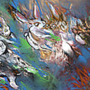 White Rabbits On The Run Art Print
