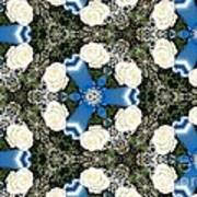 White Roses And Babys Breath Kaleidoscope Art Print
