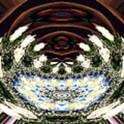 White Roses And Babys Breath Polar Coordinates Effect Art Print