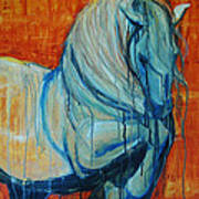 White Stallion Art Print by Jani Freimann