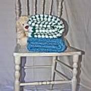 White Teddy And Chair Art Print