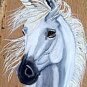 White Unicorn On Wood Art Print