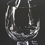 White Wine In Black And White Art Print