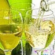 White Wine Pouring Into Glasses Art Print