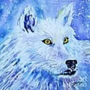White Wolf - Aurora Nights In Blues - Square Art Print
