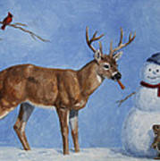 Whitetail Deer And Snowman - Whose Carrot? Print by Crista Forest