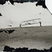 The Wright Brothers Wilbur In Motion At Left Holding One End Of Glider Art Print