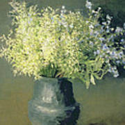 Wild Lilacs And Forget Me Nots Art Print by Isaak Ilyich Levitan