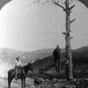 Wild West. Sheriff On Horseback Looking Art Print