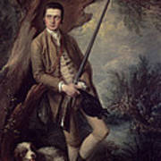 William Poyntz Of Midgham And His Dog Amber Oil On Canvas Art Print