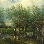 Willows With A Man Fishing Art Print