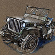 Willys Car Drawing Art Print