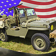Willys World War Two Army Jeep And American Flag Art Print