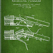 Winchester Firearm Patent Drawing From 1877 - Green Art Print