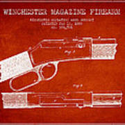 Winchester Firearm Patent Drawing From 1888- Red Art Print