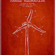 Wind Generator Break Mechanism Patent From 1990 - Red Art Print