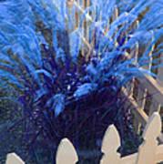 Wind In The Grass - Blue Art Print
