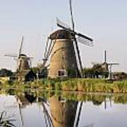 Wind Mills Next To Canal, Holland Art Print