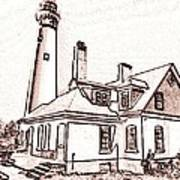 Wind Point Lighthouse Drawing Mode 1 Art Print