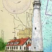Wind Pt Lighthouse Wi Nautical Chart Map Art Cathy Peek Art Print