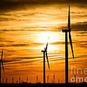 Wind Turbine Farm Picture Indiana Sunrise Art Print