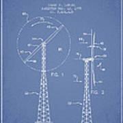 Wind Turbine Rotor Blade Patent From 1995 - Light Blue Art Print