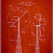 Wind Turbine Rotor Blade Patent From 1995 - Red Art Print