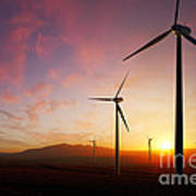 Wind Turbines At Sunset Art Print