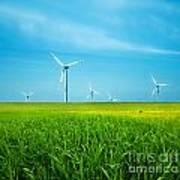 Wind Turbines On Green Field Art Print