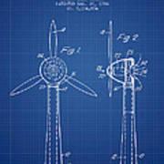 Wind Turbines Patent From 1984 - Blueprint Art Print