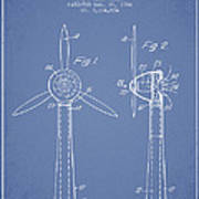 Wind Turbines Patent From 1984 - Light Blue Art Print