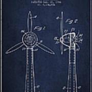 Wind Turbines Patent From 1984 - Navy Blue Art Print