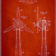Wind Turbines Patent From 1984 - Red Art Print