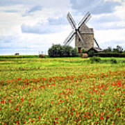 Windmill And Poppy Field In Brittany Art Print