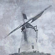 Windmill At Damme In Belgium Countryside Art Print