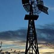 Windmill At Sunset Art Print