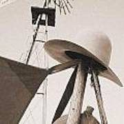 Windmill Canteen And Cowboy Hat 4 Art Print