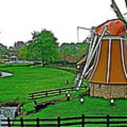 Windmill In A Park In Enkhuizen-netherlands Art Print