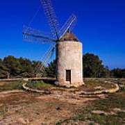 Windmill In El Pilar De La Mola On Formentera Art Print