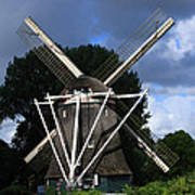 Windmill In Dutch Countryside Art Print