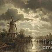 Windmill In The Moonlight Art Print