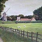 Windmill On Farm Art Print