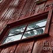 Windmill Reflected In Barn Window Art Print